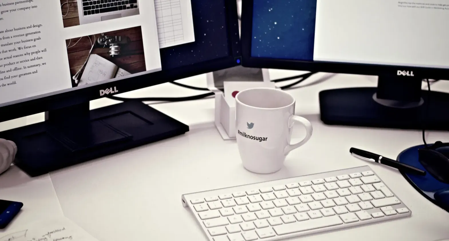 Coffee cup keyboard and computer
