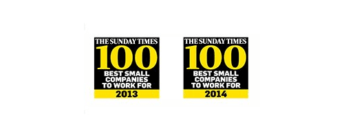 2013 & 2014 - Times Top 100 Best Small Companies to Work for 2013 & 2014